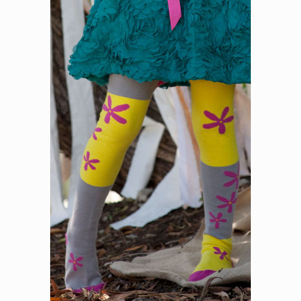 【美國 Luna Leggings 】有機棉褲襪-(小花兒Flower Color-Block) 有機棉, 保暖加厚, 厚磅, 溫暖力,  百搭打底