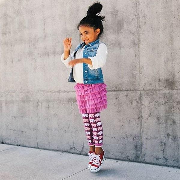 【美國 Luna Leggings 】 雪紡紗裙有機棉內搭褲(快樂小象Elephant Tutu) 有機棉, 保暖加厚, 厚磅, 溫暖力,  百搭打底