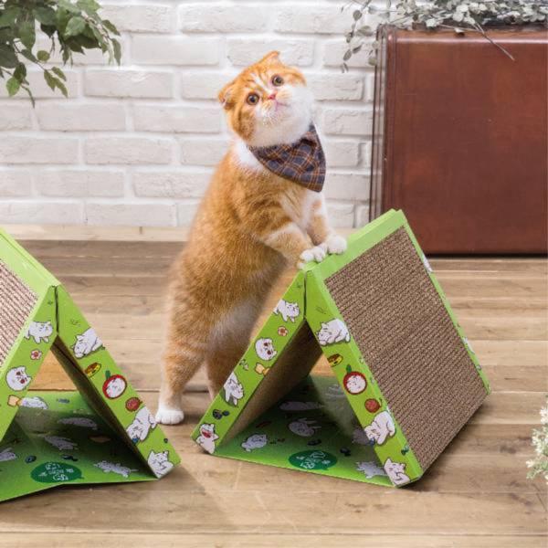 【帳篷貓抓板 ▲ 叢林綠】 露營必備發燒貨 喵屋 帳篷 帳篷貓抓板 三角型 貓抓板