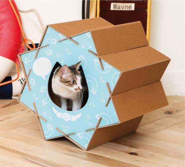 【喵滾滾】療癒藍(喵屋是貓窩,是貓抓板,也是貓隧道~) 喵屋/貓屋/紙貓屋/寵物居/便宜/質感