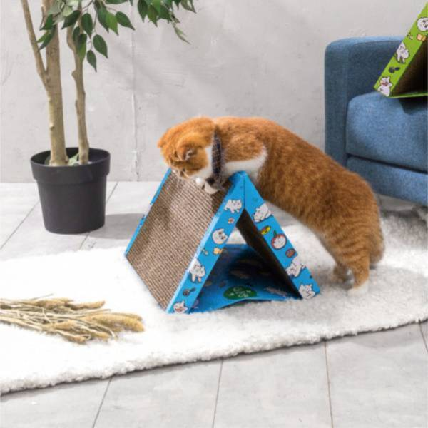 【帳篷貓抓板 ▲ 湖泊藍】 露營必備發燒貨 喵屋 帳篷 貓抓板 帳篷貓抓板 三角型