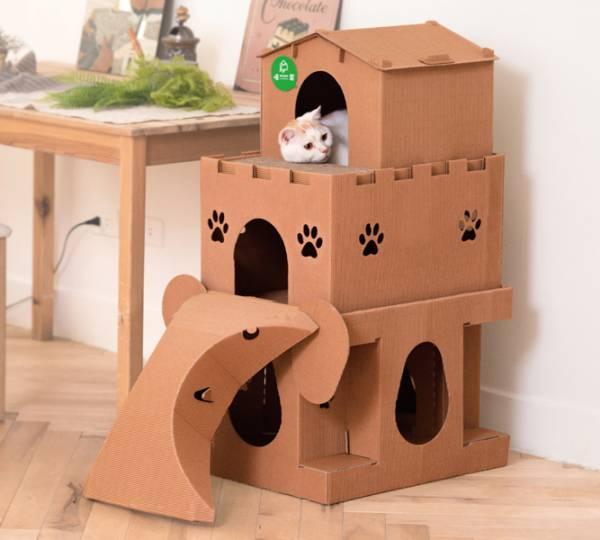 【喵的移動城堡】別墅+城堡+大象 - 貓界豪宅帝寶  (喵屋是貓窩,也是貓抓板~) 喵屋/貓屋/紙貓屋/寵物居/便宜/質感