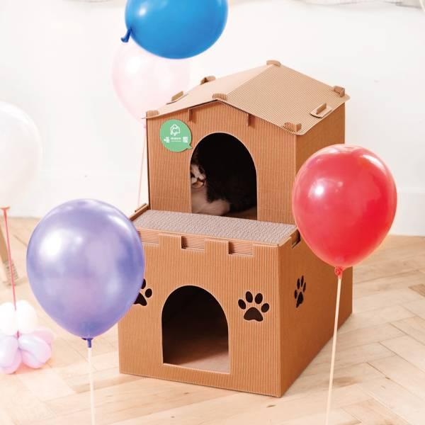 【喵屋天鵝堡】別墅+城堡  (喵屋是貓窩,也是貓抓板~) 喵屋/貓屋/紙貓屋/寵物居/便宜/質感