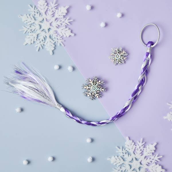 冰雪世界髮辮髮夾組 (紫) Frozen Snowflake Braid (purple)