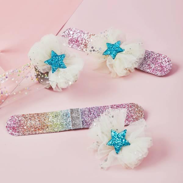 拍拍Bow (手環/髮圈/髮夾組)-紗紗粉黃 Snap Bracelet/ Bow/ Tie 3 in 1