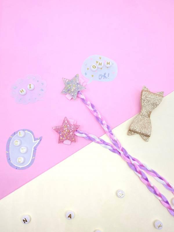 果凍星星辮蝴蝶結組 (金)Jelly Star Braids (gold)
