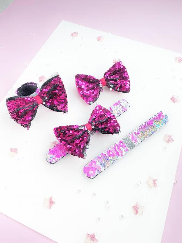 拍拍Bow (手環/髮圈/髮夾組)-桃 Snap Bracelet/ Bow/ Tie 3 in 1 - Hot Pink