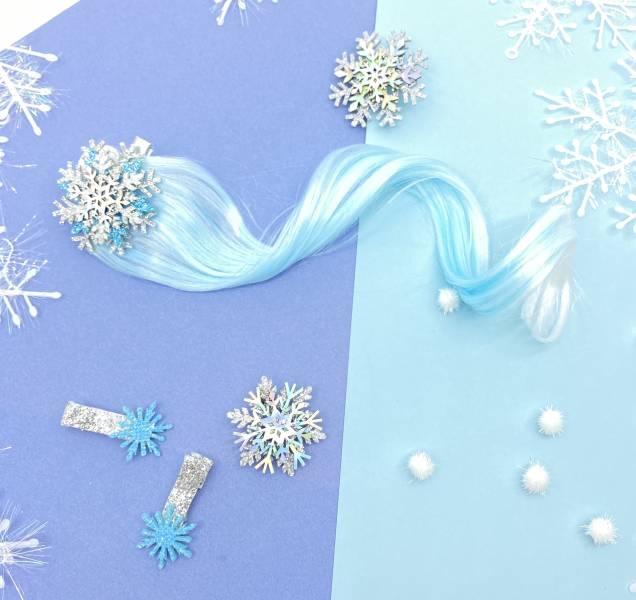 冰晶雪花卷髮夾組 Frozen Snowflake Braid (blue)