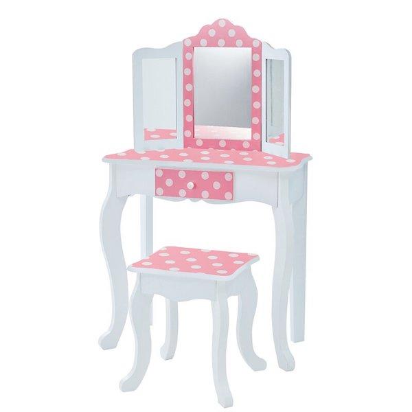 吉賽兒時尚木製化妝桌椅組-圓點