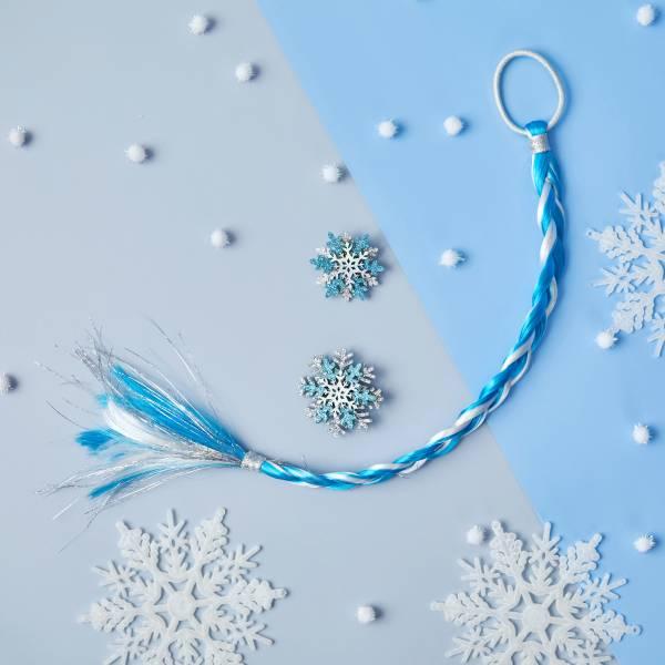 冰雪世界髮辮髮夾組 (藍) Frozen Snowflake Braid (blue)