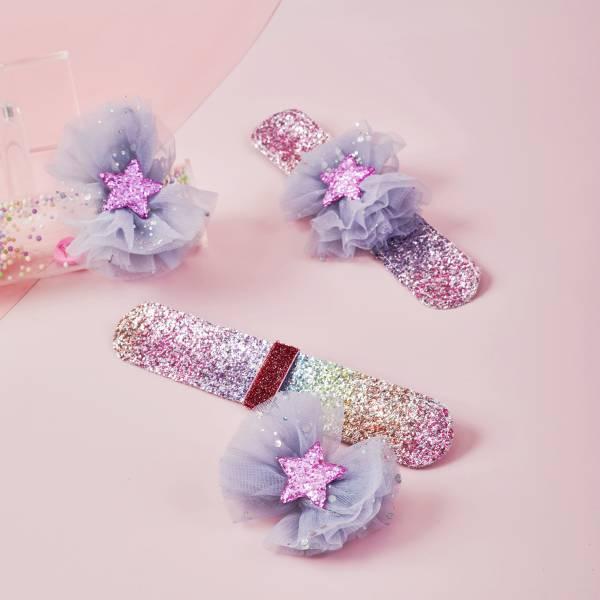 拍拍Bow (手環/髮圈/髮夾組)-紗紗星光灰 Snap Bracelet/ Bow/ Tie 3 in 1