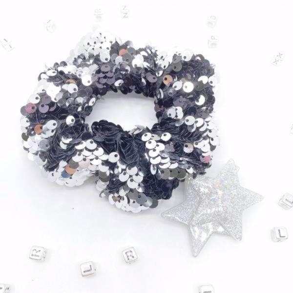 [徐若瑄款] 翻轉亮片甜甜圈 (銀河星光) Reversible Sequin Scrunchie (black/silver)