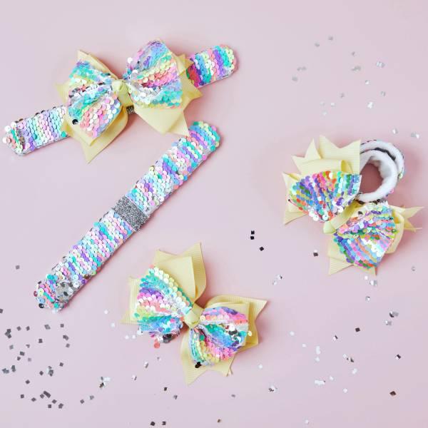 拍拍Bow (手環/髮圈/髮夾組) 彩虹 Snap Bracelet/ Bow/ Tie 3 in 1 - Rainbow