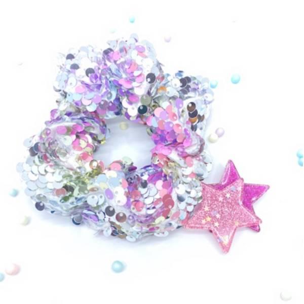 [官網限定] 翻轉亮片甜甜圈 (泡泡糖) Reversible Sequin Scrunchie (Bubblegum)