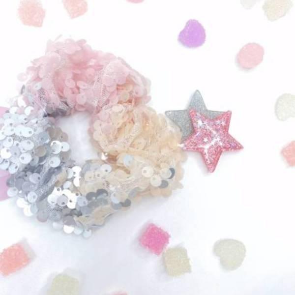 [官網限定] 霧面亮片甜甜圈 (香甜草莓) Reversible Sequin Scrunchie (Strawberry Cream)