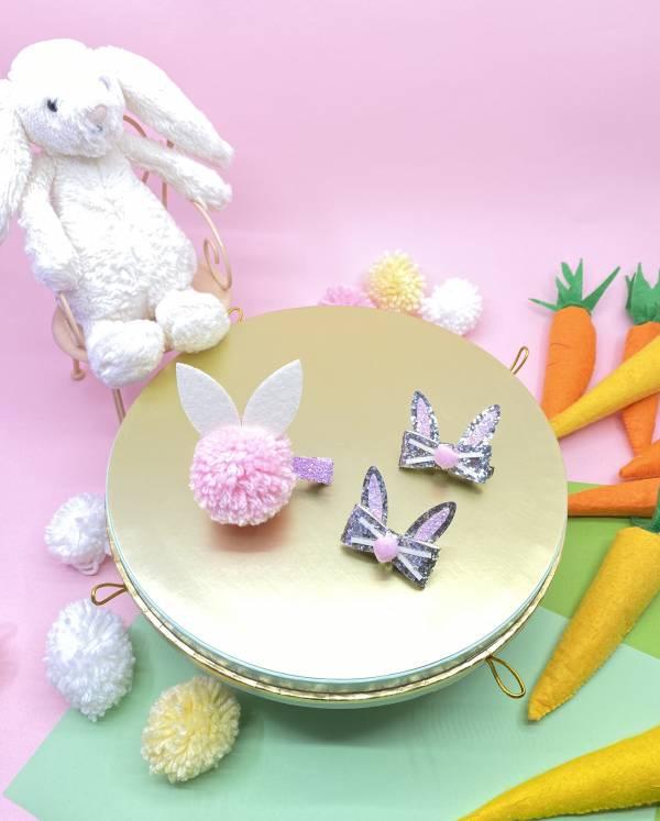 邦妮兔兔髮夾蝴蝶結組(粉) Hip Hop Bunny (pink)