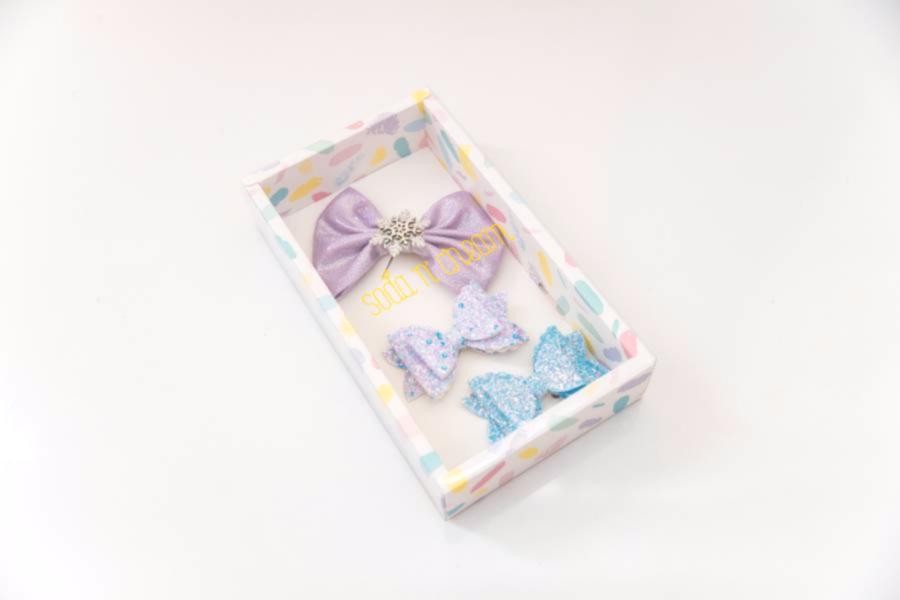 雪花迪士可蝴蝶結組 (紫藍) Disco Snowflake Bows (purple+blue)