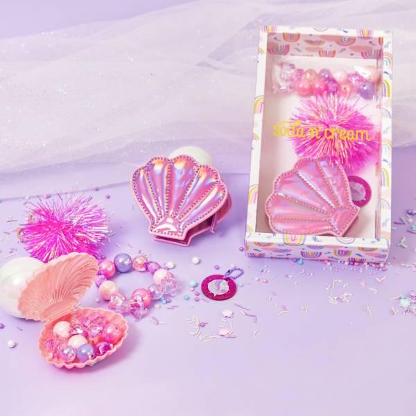 貝殼閃閃串珠包 粉珠