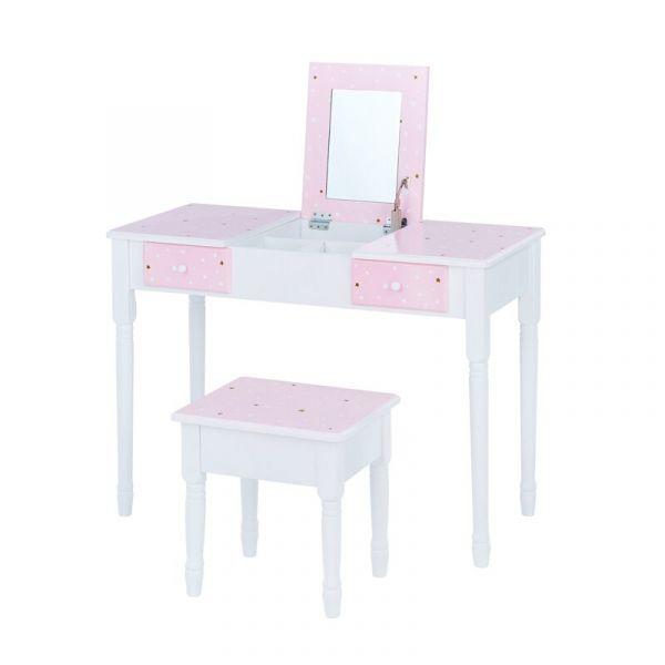 時尚閃亮星凱特梳妝桌椅組(掀蓋式)