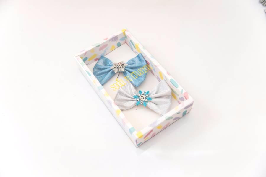 雪花迪士可蝴蝶結組 (藍銀) Disco Snowflake Bows (blue+silver)