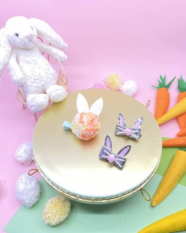 邦妮兔兔髮夾蝴蝶結組(亮) Hip Hop Bunny (spring)