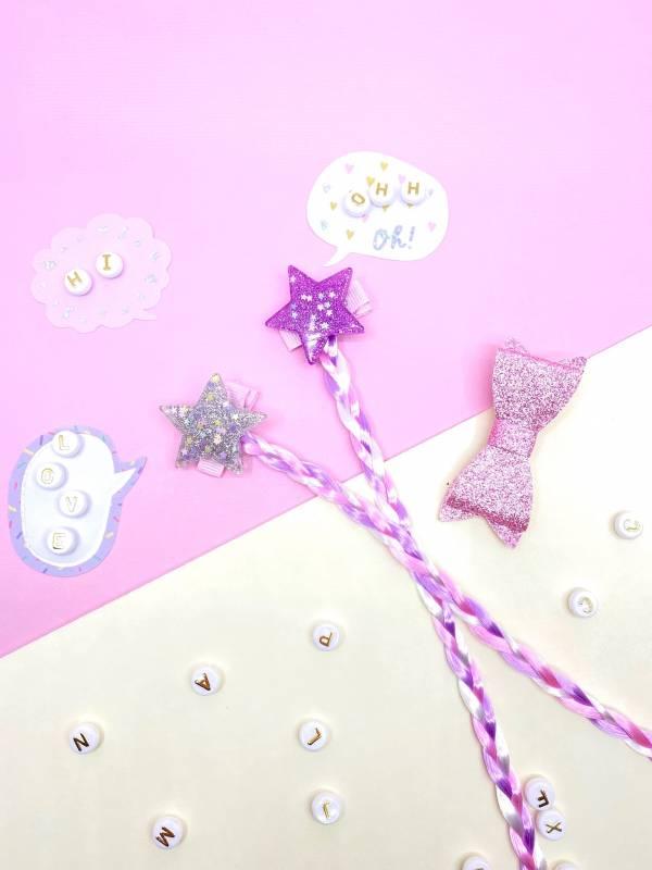 果凍星星辮蝴蝶結組 (粉)Jelly Star Braids (pink)