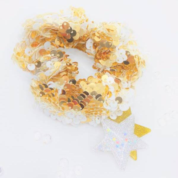 [官網限定] 翻轉亮片甜甜圈 (流金聖代) Reversible Sequin Scrunchie (Golden Swirl)