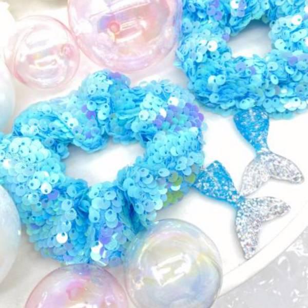 [官網限定] 人魚公主甜甜圈 (蘇打泡泡) Mermaid Reversible Sequin Scrunchie (Sea)