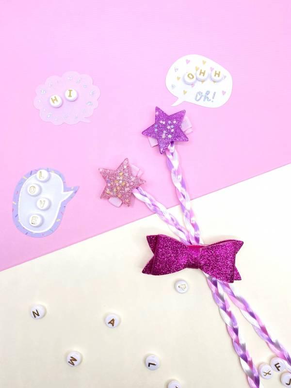 果凍星星辮蝴蝶結組 (桃)Jelly Star Braids (sparkle)