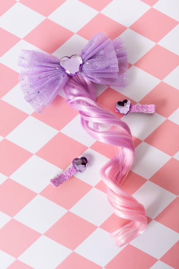 寶石公主卷髮Bow (紫)