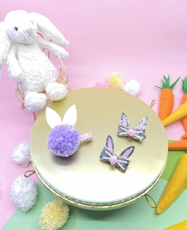 邦妮兔兔髮夾蝴蝶結組(紫) Hip Hop Bunny (purple)