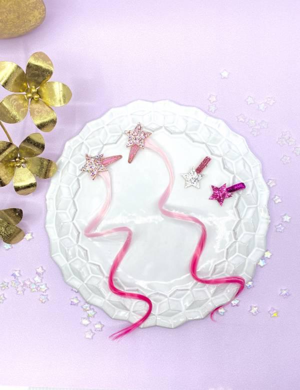 浪漫亮星星細卷髮組 (粉) Glitter Stars (pink)