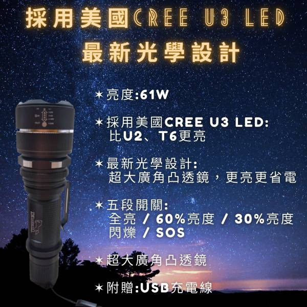 內充式Micro插孔U3LED手電筒 現貨,光之圓,手電筒,內充式,Micro,插孔,U3,LED,手電筒,充電線,光學,亮度,充電,鋁合金,鋁電池