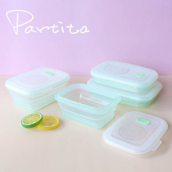 【Partira帕緹塔】全矽膠第三代伸縮長型保鮮盒套裝四件組 保鮮盒,環保,加拿大,無毒,安全,帕緹塔,矽膠,收納,餐盒,便當盒