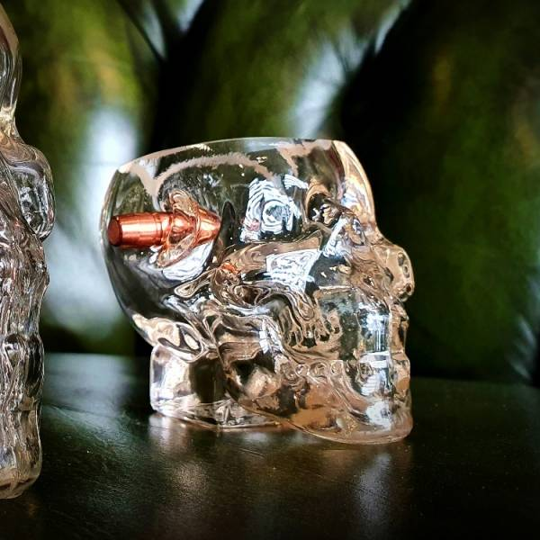 In Stock and Discount【.308 Headshot Skull Shot Glass】 ott,ottgear,Shot杯,玻璃杯,子彈模型,惰性彈,裝飾彈,子彈杯