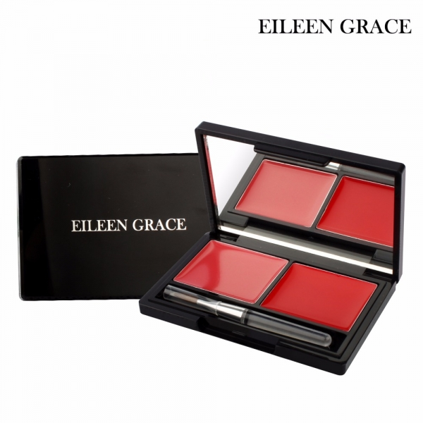 Eileen Grace Fashion 2 Colors Lipstick Palette With Brush, Bright Red