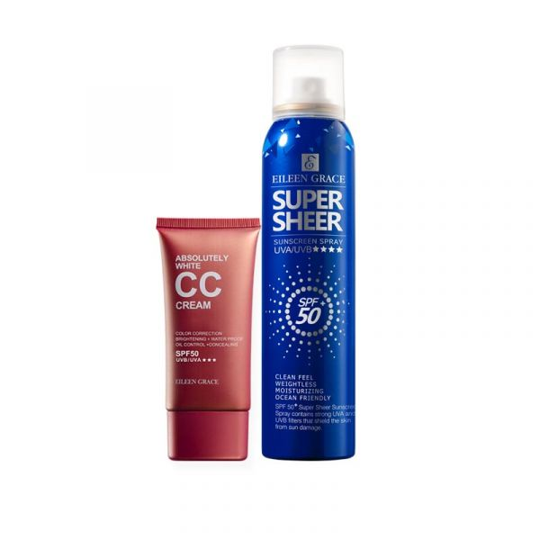 防曬水亮底妝組》防曬噴霧+CC霜 底妝,CC霜,防曬噴霧,SPF50+