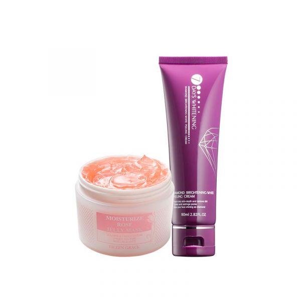 [Free Gift] Bright White Scrub Kit – Rose Jelly Mask & Peeling Cream/ 2pcs, plus Soap-Free plus Scalp Mask 20ml 火山泥、面膜、泥膜、去角質、保濕、亮白、玫瑰