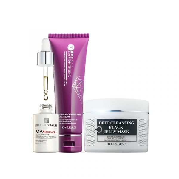 Bright White Scrub Kit – Black Jelly Mask, Mandelic Acid Essence & Peeling Cream/ 3pcs,