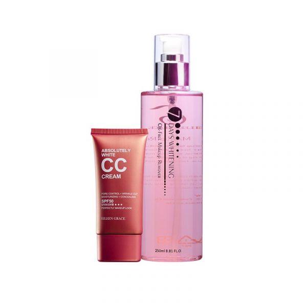 水亮底妝好卸組》卸妝液+CC霜 雙效卸妝液,卸妝水,CC霜
