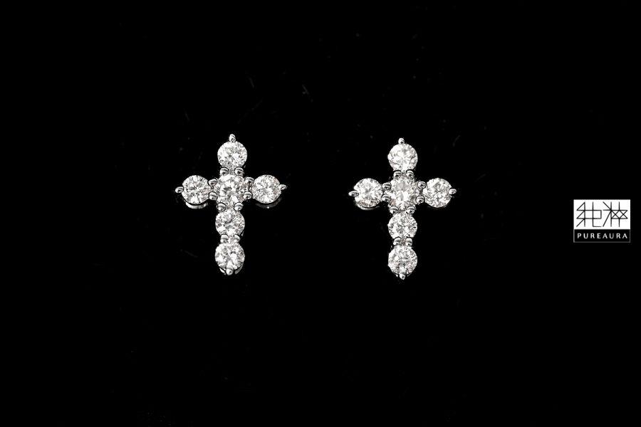 頂級天然真鑽18K白金十字架耳環 鑽石,Diamond