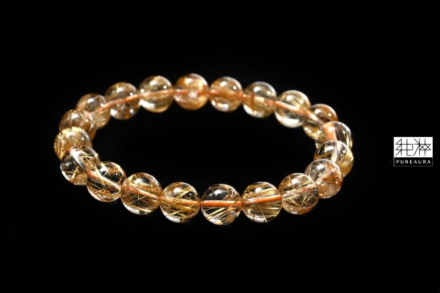 站長私藏 / 頂級淨透金黃粗版鈦晶手珠 鈦晶,Rutilated Quartz,金紅石