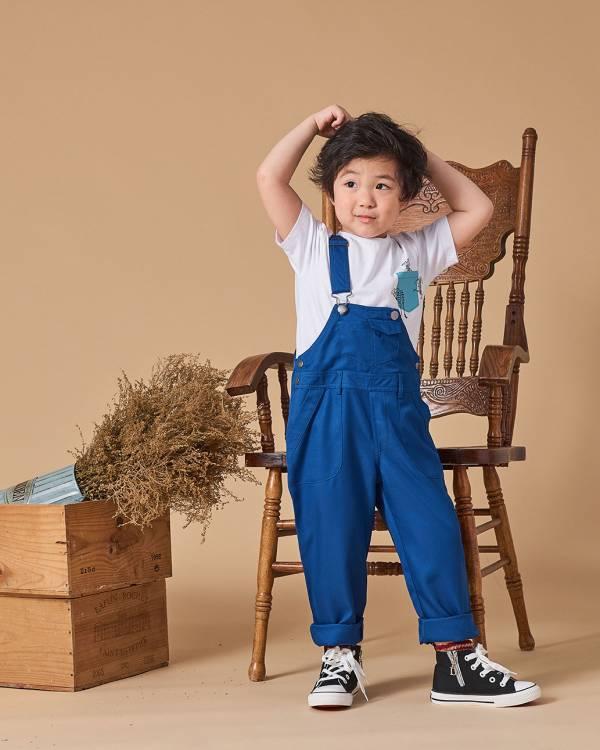 簡約純色質感藍色吊帶褲