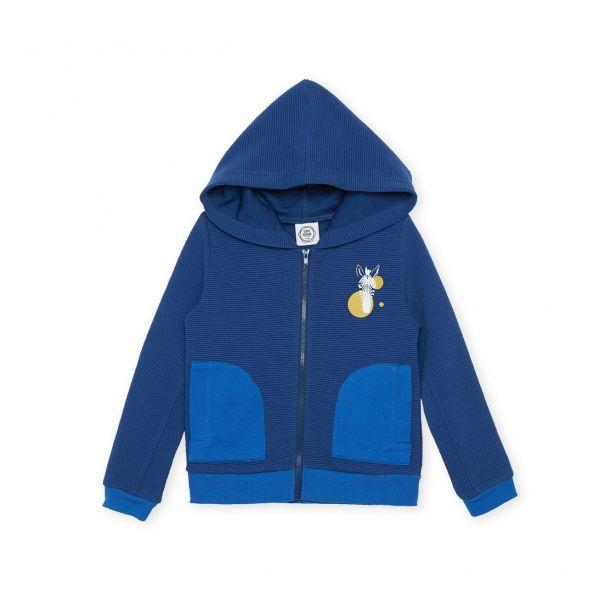 斑馬純色休閒外套 藍