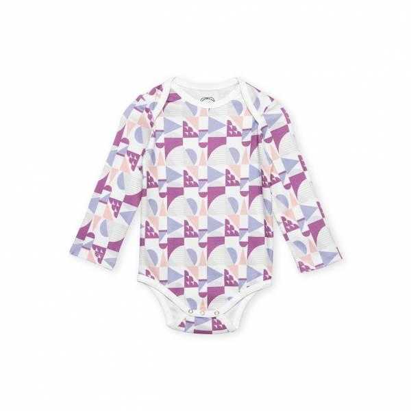 紫色圓形幾何圖形 有機棉長袖包屁衣