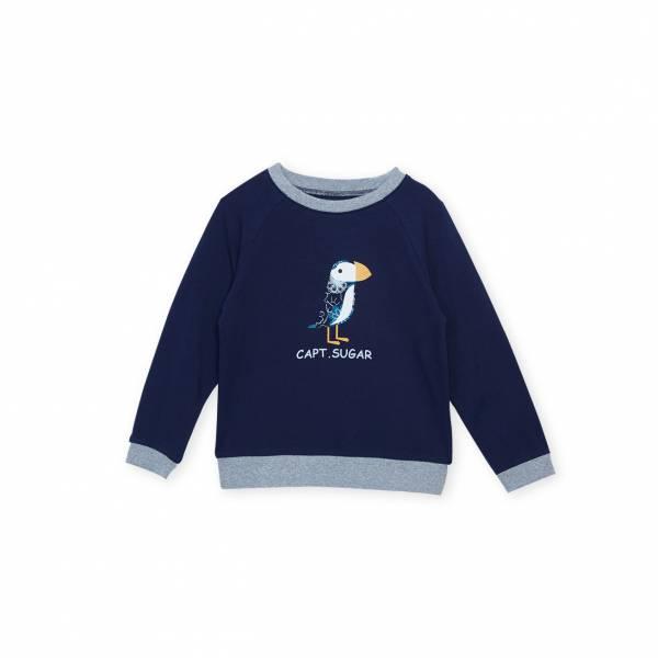 素色Logo休閒T恤 藍