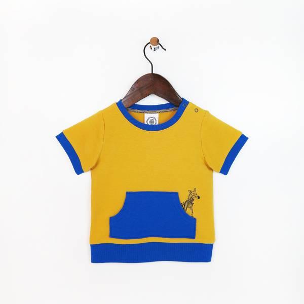 斑馬休閒毛圈短袖上衣 黃(嬰)