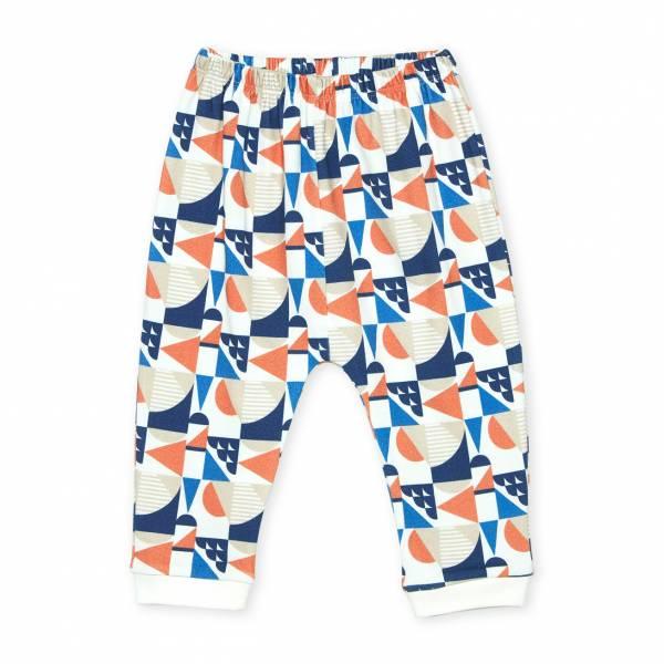 橘色圓形幾何圖形  有機棉長褲褲