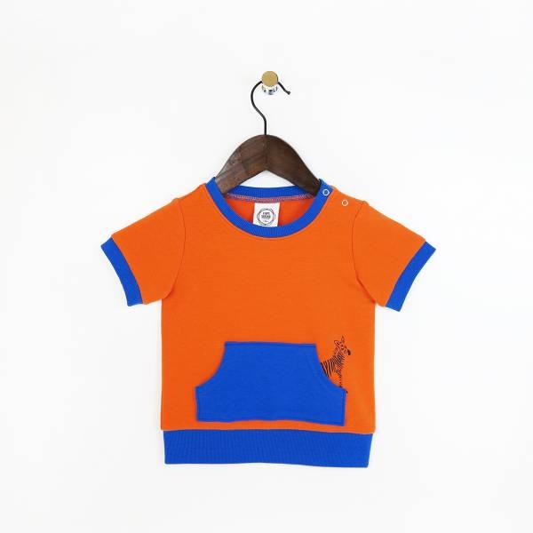 斑馬休閒毛圈短袖上衣 橘(嬰)