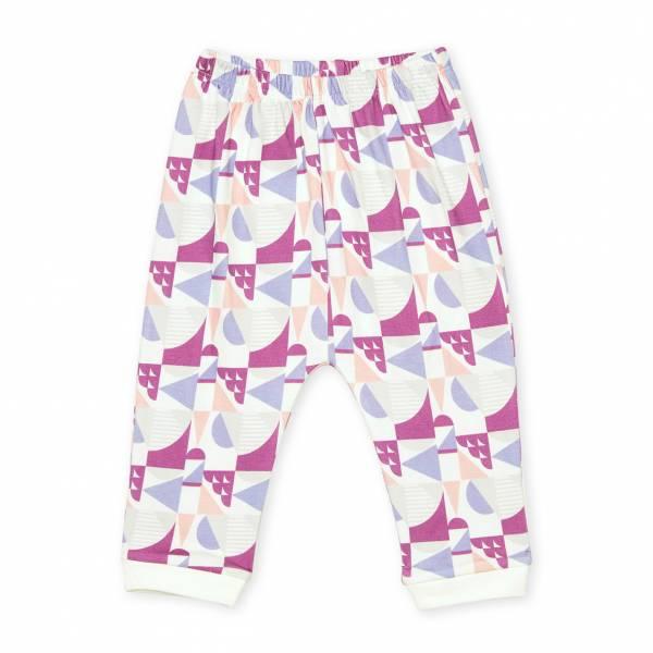 紫色圓形幾何圖形  有機棉長褲褲